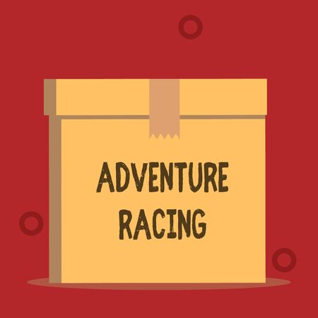 Word writing text Adventure Racing. Business photo showcasing disciplinary sport involving navigation over unknown course Close up front view open brown cardboard sealed box lid. Blank background 版權商用圖片