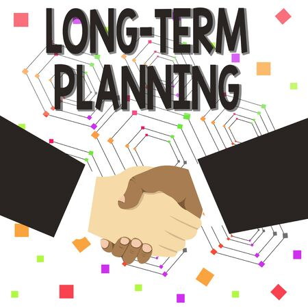 Text sign showing Long Term Planning. Business photo text Establish Expected Goals five or more years ahead Hand Shake Multiracial Male Business Partners Colleagues Formal Black Suits