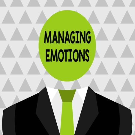 Text sign showing Managing Emotions. Business photo showcasing Controlling feelings in oneself Maintain composure Symbolic Drawing Emblematic Figure of Man Formal Suit Oval Faceless Head