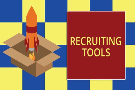Text sign showing Recruiting Tools. Business photo text getting new talents to your company through internet or ads Fire launching rocket carton box. Starting up project. Fuel inspiration