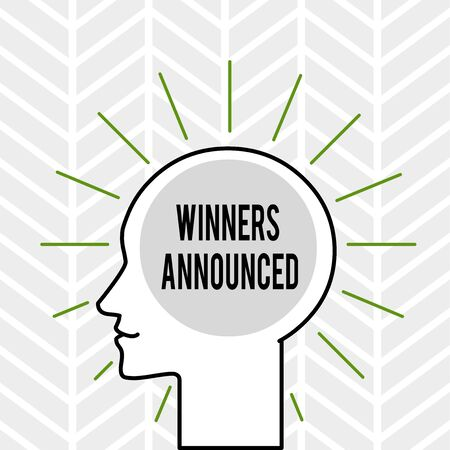 Handwriting text writing Winners Announced. Conceptual photo Announcing who won the contest or any competition Outline Silhouette Human Head Surrounded by Light Rays Blank Text Space