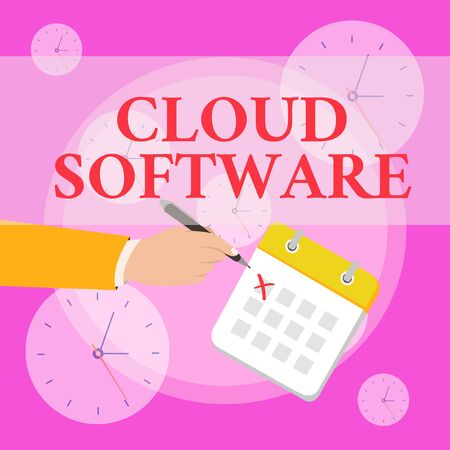 Writing note showing Cloud Software. Business concept for Programs used in Storing Accessing data over the internet Formal Suit Crosses Off One Day Calendar Red Ink Ballpoint Pen