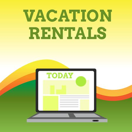 Text sign showing Vacation Rentals. Business photo showcasing Renting out of apartment house condominium for a short stay Open Modern Laptop Switched On with Website Homepage on Screen Web Search