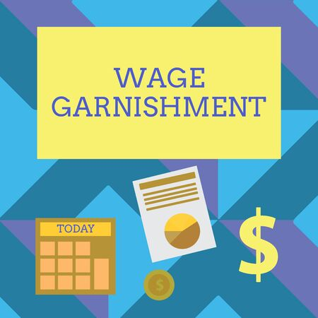 Text sign showing Wage Garnishment. Business photo showcasing Deducting money from compensation ordered by the court Computing Dollar Investment in Gold and Presenting Data thru Pie Chart Graph