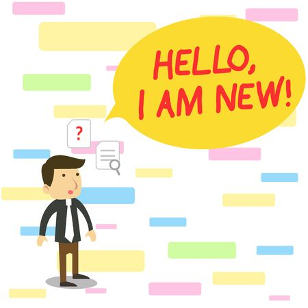 Text sign showing Hello I Am New. Business photo text introducing oneself in a group as fresh worker or student Young Male Businessman Office Worker Standing Searching Problem Solution Imagens