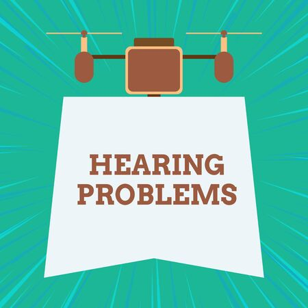 Text sign showing Hearing Problems. Business photo showcasing is partial or total inability tolisten to sounds normally Drone holding downwards banner. Geometrical abstract background design Imagens