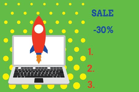 Handwriting text Sale 30 Percent. Conceptual photo A promo price of an item at 30 percent markdown Launching rocket up laptop . Startup project. Developing goal objectives