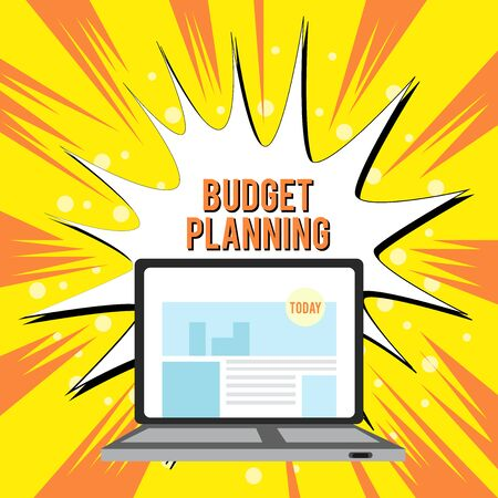 Text sign showing Budget Planning. Business photo text The written description about current and future expenses Open Modern Laptop Switched On with Website Homepage on Screen Web Search