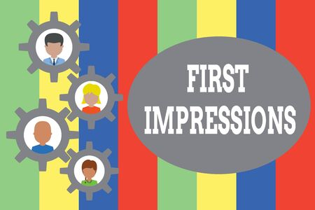 Text sign showing First Impressions. Business photo showcasing What a demonstrating thinks of you when they first meet you Gearshaped picture frame family ornament mother father daughter son photo