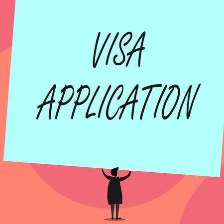 Word writing text Visa Application. Business photo showcasing Form to ask permission travel or live in another country Back view standing short hair woman dress hands up holding blank rectangle