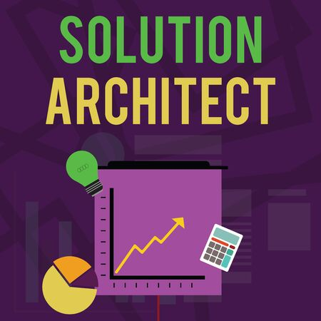Text sign showing Solution Architect. Business photo text Design applications or services within an organization Investment Icons of Pie and Line Chart with Arrow Going Up Bulb Calculator 版權商用圖片