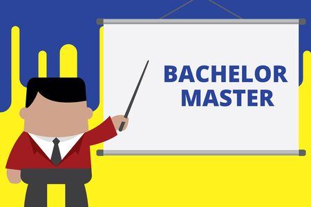 Handwriting text writing Bachelor Master. Conceptual photo An advanced degree completed after bachelor s is degree Businessman standing in front projector screen pointing project idea Banco de Imagens
