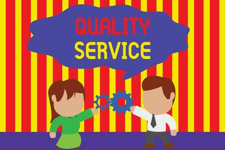Writing note showing Quality Service. Business concept for how well delivered service conforms to clientexpectations Young couple sharing gear Man tie woman skirt relation