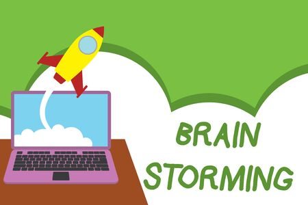Text sign showing Brain Storming. Business photo showcasing Stimulating creative thinking Developing new ideas Discussion Successful rocket launching clouds out laptop background. Startup growing Stock Photo