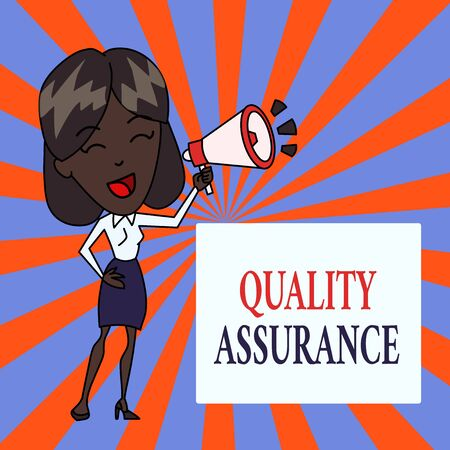 Text sign showing Quality Assurance. Business photo text Ensures a certain level of quality Established requirement Young Woman Speaking into Blowhorn Volume Icon Colored Backgdrop Text Box