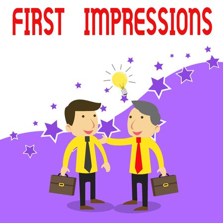 Handwriting text writing First Impressions. Conceptual photo What a demonstrating thinks of you when they first meet you Two White Businessmen Colleagues with Brief Cases Sharing Idea Solution
