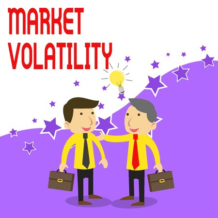 Handwriting text writing Market Volatility. Conceptual photo Underlying securities prices fluctuates Stability status Two White Businessmen Colleagues with Brief Cases Sharing Idea Solution Banco de Imagens
