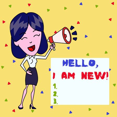 Text sign showing Hello I Am New. Business photo showcasing introducing oneself in a group as fresh worker or student Young Woman Speaking into Blowhorn Volume Icon Colored Backgdrop Text Box