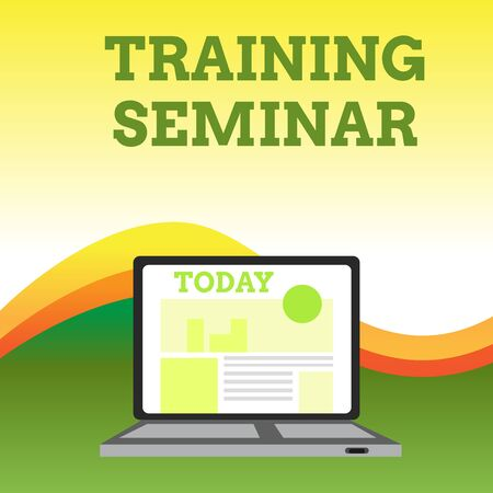 Text sign showing Training Seminar. Business photo showcasing Academic instruction Formal presentation of a research Open Modern Laptop Switched On with Website Homepage on Screen Web Search