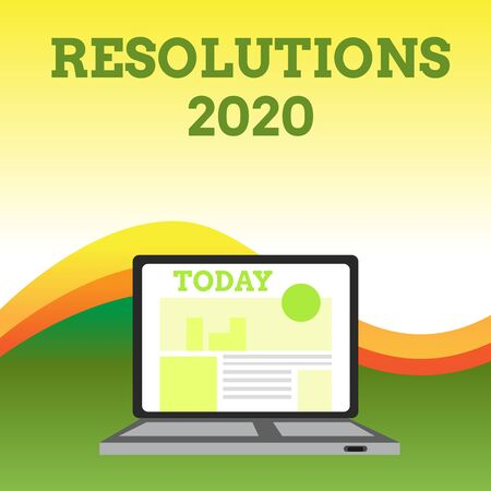 Text sign showing Resolutions 2020. Business photo showcasing list of things wishes to be fully done in next year Open Modern Laptop Switched On with Website Homepage on Screen Web Search Banco de Imagens