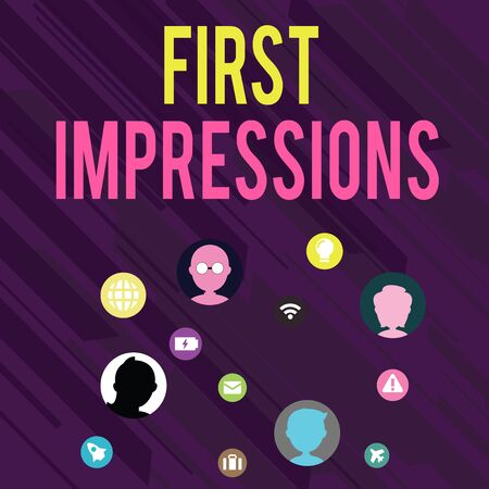 Conceptual hand writing showing First Impressions. Concept meaning What a demonstrating thinks of you when they first meet you Networking Technical Icons Chat Heads on Screen for Link Up