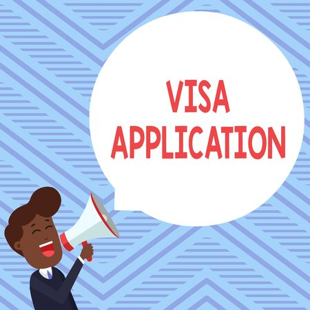 Word writing text Visa Application. Business photo showcasing Form to ask permission travel or live in another country Young Man Shouting into Megaphone Floating Round Shape Empty Speech Bubble 写真素材