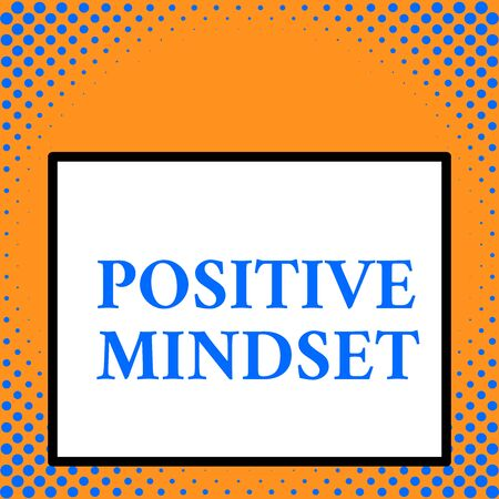 Writing note showing Positive Mindset. Business concept for mental and emotional attitude that focuses on bright side Front close up view big blank rectangle abstract geometrical background Фото со стока