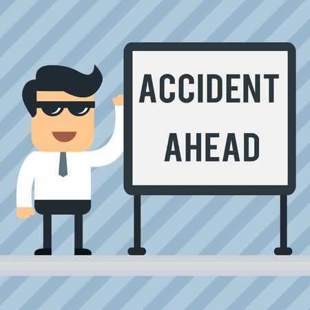 Writing note showing Accident Ahead. Business concept for Unfortunate event Be Prepared Detour Avoid tailgating Office Worker Sunglass Blank Whiteboard Meeting Presentation