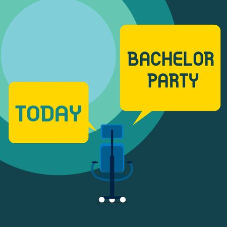 Conceptual hand writing showing Bachelor Party. Concept meaning Party given for a analysis who is about to get married Stag night Executive chair sharing two blank square speech bubbles side