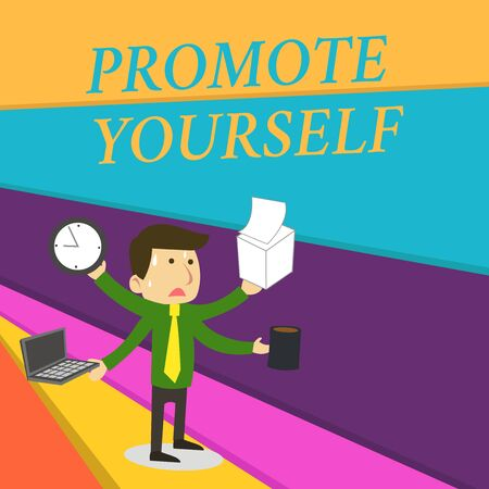 Handwriting text writing Promote Yourself. Conceptual photo market and introduce to others Improvement Encourage Stressed Out Male Employee Manager Many Armed Multitasking Meet Deadline