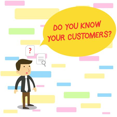 Text sign showing Do You Know Your Customers question. Business photo text asking to identify a customer s is nature Young Male Businessman Office Worker Standing Searching Problem Solution Stock fotó