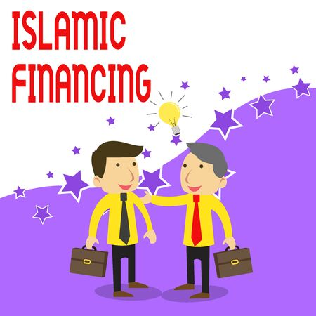 Handwriting text writing Islamic Financing. Conceptual photo Banking activity and investment that complies with sharia Two White Businessmen Colleagues with Brief Cases Sharing Idea Solution