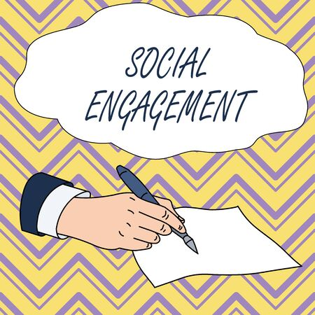 Conceptual hand writing showing Social Engagement. Concept meaning Degree of engagement in an online community or society Male Hand Formal Suit Holding Ballpoint Pen Piece of Paper Writing Stock Photo