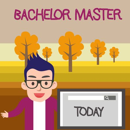 Text sign showing Bachelor Master. Business photo text An advanced degree completed after bachelor s is degree Male Speaker Monitor with Search Tool on Screen Presentation or Report