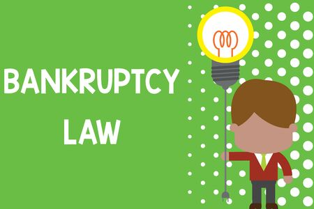 Text sign showing Bankruptcy Law. Business photo text Designed to help creditor in getting the asset of the debtor Standing man tie holding plug socket light bulb to connect idea. Startup