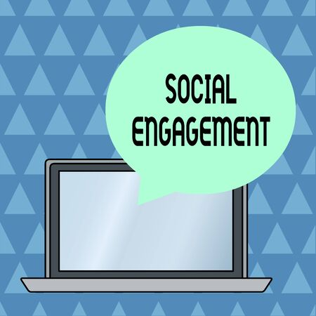 Text sign showing Social Engagement. Business photo showcasing Degree of engagement in an online community or society Round Shape Empty Speech Bubble Floating Over Open Laptop Colored Backdrop