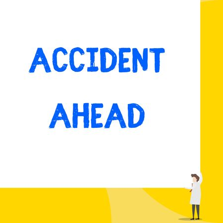 Writing note showing Accident Ahead. Business concept for Unfortunate event Be Prepared Detour Avoid tailgating Young woman holding two hands right corner big rectangle