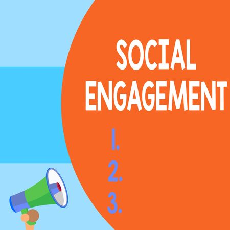 Handwriting text writing Social Engagement. Conceptual photo Degree of engagement in an online community or society Half part blank huge balloon empty text with small megaphone. Announcement