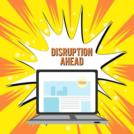 Text sign showing Disruption Ahead. Business photo text Transformation that is caused by emerging technology Open Modern Laptop Switched On with Website Homepage on Screen Web Search Stock Photo