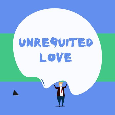 Text sign showing Unrequited Love. Business photo showcasing not openly reciprocated or understood as such by beloved Front view standing man dressed suit tie two hands up big deflated balloon