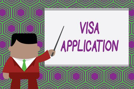 Conceptual hand writing showing Visa Application. Concept meaning Form to ask permission travel or live in another country Businessman standing in front projector pointing project idea 写真素材