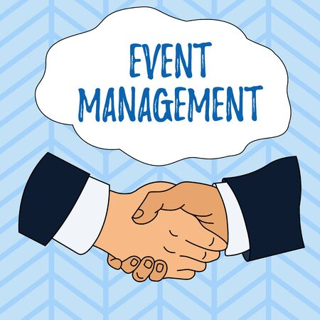 Writing note showing Event Management. Business concept for creation and development of large scale actions festivals Hand Shake Multiracial Male Colleagues Formal Shirt Suit Reklamní fotografie