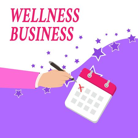 Text sign showing Wellness Business. Business photo text Professional venture focusing the health of mind and body Male Hand Formal Suit Crosses Off One Day Calendar Red Ink Ballpoint Pen