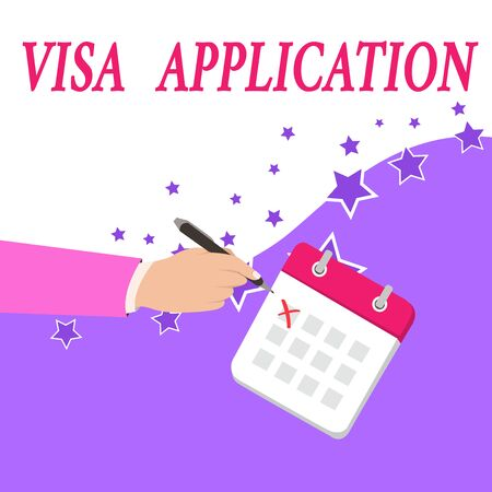 Text sign showing Visa Application. Business photo text Form to ask permission travel or live in another country Male Hand Formal Suit Crosses Off One Day Calendar Red Ink Ballpoint Pen