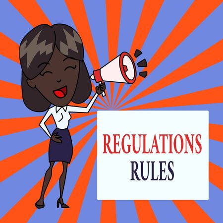 Text sign showing Regulations Rules. Business photo text Standard Statement Procedure govern to control a conduct Young Woman Speaking into Blowhorn Volume Icon Colored Backgdrop Text Box Banque d'images - 124645457