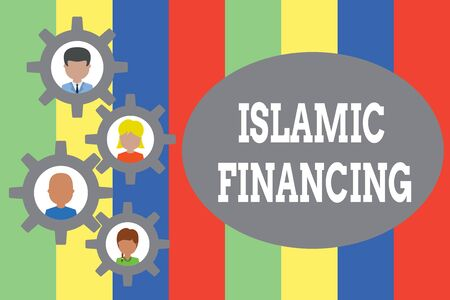 Text sign showing Islamic Financing. Business photo showcasing Banking activity and investment that complies with sharia Gearshaped picture frame family ornament mother father daughter son photo