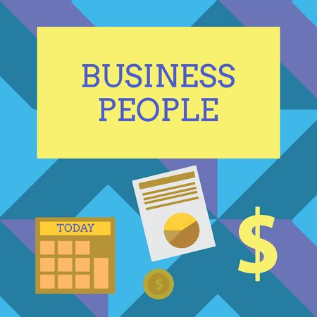 Text sign showing Business People. Business photo showcasing People who work in business especially at an executive level Computing Dollar Investment in Gold and Presenting Data thru Pie Chart Graph Stock Photo