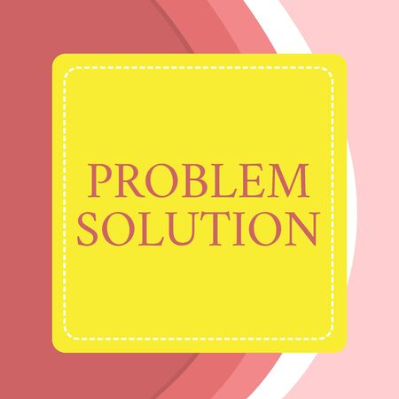 Word writing text Problem Solution. Business photo showcasing solving consists of using generic methods in orderly analysisner Dashed Stipple Line Blank Square Colored Cutout Frame Bright Background Stock Photo
