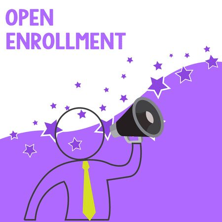 Text sign showing Open Enrollment. Business photo showcasing The yearly period when showing can enroll an insurance Outline Symbol Man Loudspeaker Making Announcement Giving Instructions