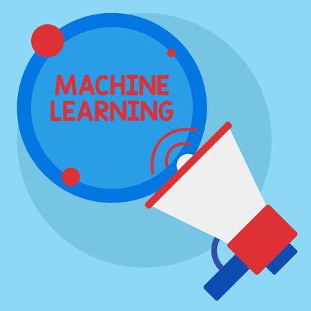 Schreibnotiz mit Machine Learning. Geschäftskonzept, um Computern die Möglichkeit zu geben, mit Daten gelehrt zu werden SpeakingTrumpet Empty Round Stroked Speech Text Balloon Ansage Standard-Bild